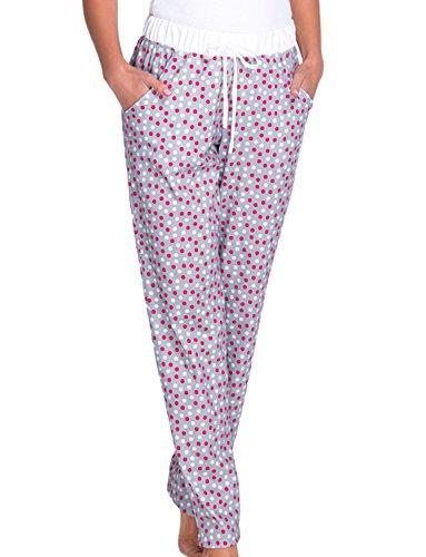 Babella 3076-2 Pantaloni Per Dormire In Cotone Con Motivo A Puntini - Fabbricato In UE, grigio-bianco,L