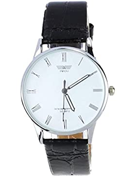 BeautyTop Männer klassische römische Zahl Quarz PU-Leder Armbanduhr (Weiß)