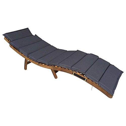 OUTLIV. Sonnenliege Holz klappbar Deluxe Gartenliege ergonomisch Akazie Braun inkl. Auflage Dunkelgrau Klappliege kompakt Holzliege geschwungen