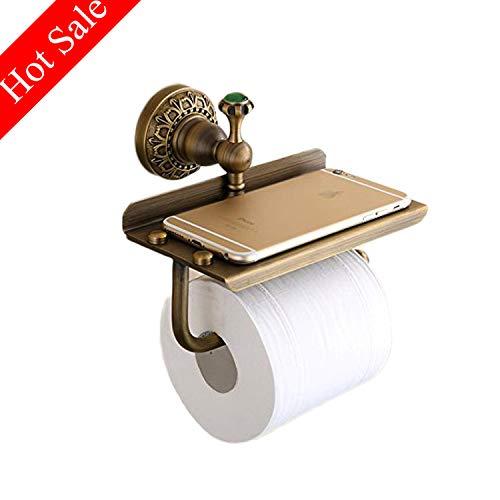 Toilettenpapierhalter, Papierrollenhalter Klopapierhalter mit Ablage für Mobiltelefon, Wandmontage Papierhalter für Badzimmer,Kupfer,Antikes Messing -