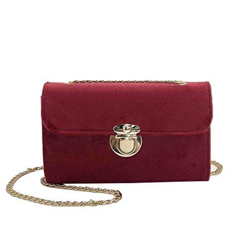 Topker Femmes Lady Velvet Street Mode Sling Pure Color Sac Sac bandoulière sac à bandoulière chaîne sac à main