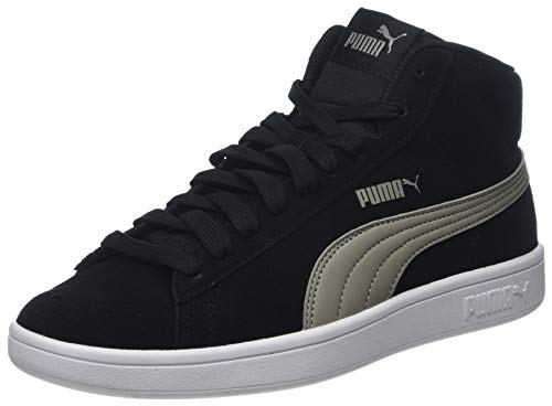 Puma Unisex-Kinder Smash V2 MID JR Hohe Sneaker, Schwarz Black-Elephant Skin 02, 36 EU