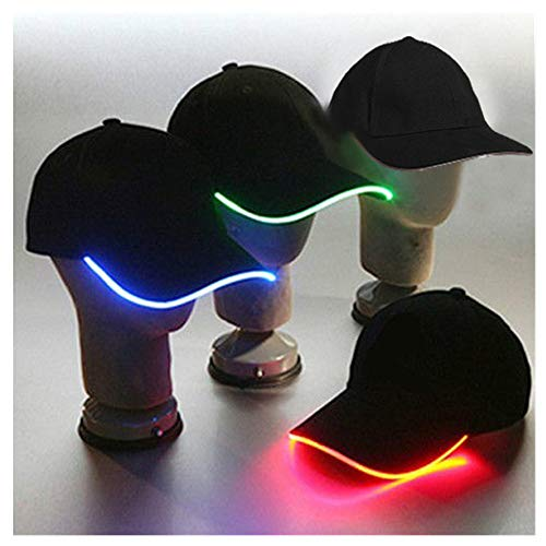 PULUZ LED Kappe Caps Schildmütze Einstellbarer Hut Baseball Blitz Käppi mit LEDs Blinkt LED Beleuchtet,LED Taschenlampen Schwarz Hüte Snapback Mütze Sonnenschutz Cappi EL Wire Draht ()
