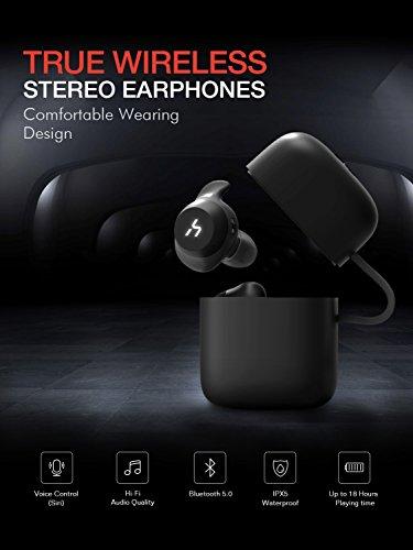 HAVIT TWS Bluetooth Kopfhörer Kabellose in Ear V5.0, True Wirelss Stereo Sport Ohrhörer, IPX5 Wasserdicht, 18 Stunden Abspielzeit, Eingebautes Mikrofon für iPhone,Samsung und Huawei, HTC,G1 Schwarz - 6