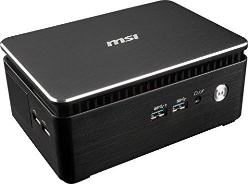 MSI Cubi 3 Silent S-003DE Mini Desktop PC (Intel Pentium Prozessor 4415U 2.30GHz, 4GB DDR4, 32GB SSD + 1 freier HDD Slot, Windows 10 Pro) lüfterlos, 1,2‐Liter‐Gehäuse, schwarz, Cubi3