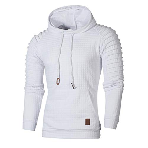 Sweatshirt Langarm Pullover mit Kapuzen, Männer Kariert Hoodie Outwear Hemd Sport T shirts Top Tee (S,Weiß) ()