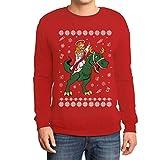 Hässlicher Weihnachtspullover - Jesus Reitet Auf Dino Sweatshirt Medium Rot