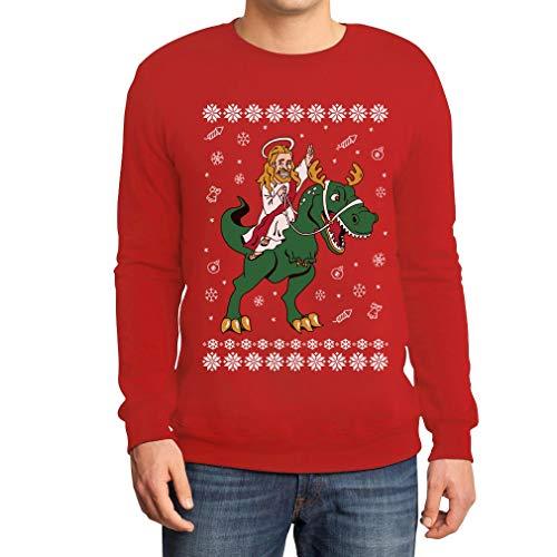 Hässlicher Weihnachtspullover - Jesus Reitet Auf Dino Sweatshirt Large Rot