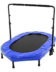 begorey Trampolin Kindertrampolin Fitness Trampolin mit höhenverstellbarem Haltegriff 143 x 91cm bis 100 kg Belastung