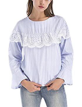 Tops de Encaje Patchwork Top Blusas de Mujer Autumn Ladies Casual Tops de Rayas Azules Blusa Elegante de Manga...