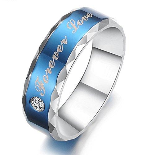 KONOV Schmuck Herren-Ring, Partnerringe, Freundschaftsringe, Zirkonia Diamant Edelstahl, 5mm Klassiker Forever Love, Blau Silber - Gr. 70