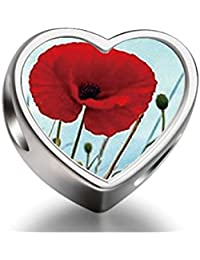 925 Sterling Silver Charms Beads red poppies Heart Photo Charm Beads Fit Pandora Chamilia Biagi beads Charms Bracelet