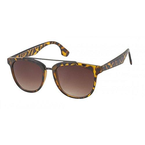Chic-Net Sonnenbrille Damen Designer Nerdbrille langer Steg Pilotenbrille getönt 400UV gemustert