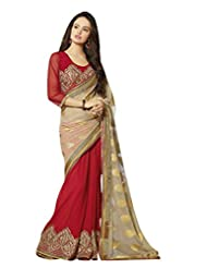 Aarti Latest Fashionable Party Wear Fancy Saree Bridal Embroidery Saree Wedding Wear Free Size - B00VRM6MLG
