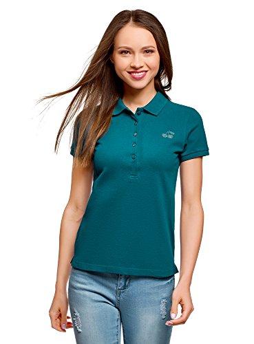 oodji Ultra Damen Pique-Poloshirt mit Strassapplikation, Grün, DE 34 / EU 36 / XS - Grüne Damen Strass T-shirt