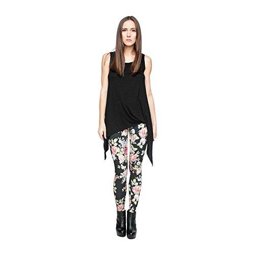Hanessa Frauen Leggins Bedruckte Leggings Hose Frühling Sommer Kleidung Blumen auf Schwarz L87