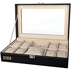 Zeiger Watch Display Box Case Faux Leather Storage Box for Pocket Watch S001