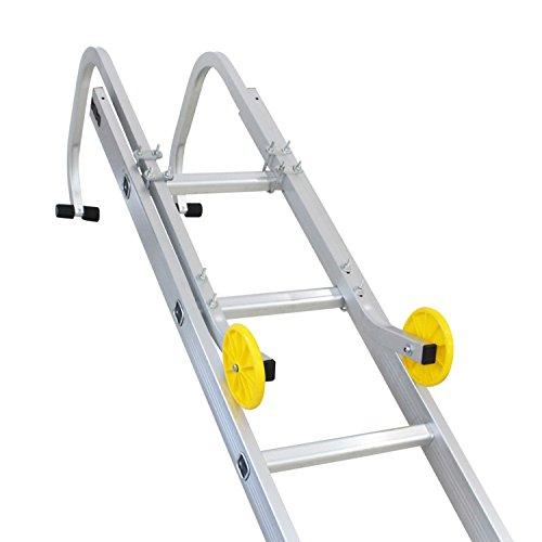 Sotech Juego de Ganchos para Escaleras de Tejado, Accesorios para Escalera industrial, Escalera telescópica, Aluminio, EN 131, Carga máxima: 150 kg