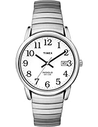 Timex Men's T2H451 Quartz Easy Reader Watch with White Dial Analogue Display and Silver Stainless Steel Bracelet