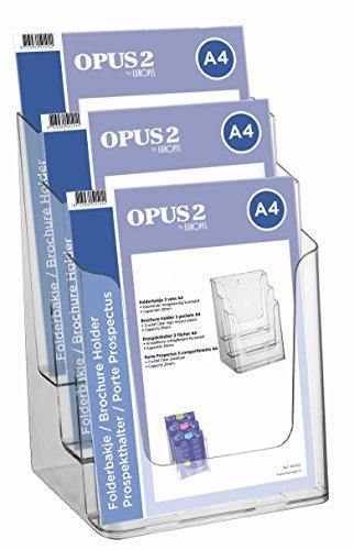 OPUS 2 350101-Prospekthalter/Prospekthänger, 3 Fächer DIN A4, Transparent, Hochformat.