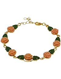 Nisa Pearls Bracelet Decorated With Pink Synthetic Coral And Green Leaf Motif