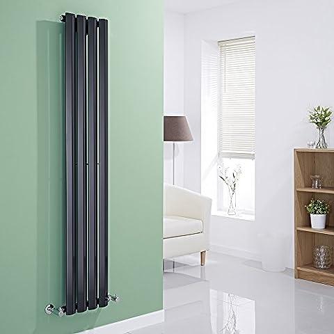 HUDSON REED - Radiateur Design Noir Vertical - Gamme Salisbury - 160 X 28 X 6 CM 630 Watts