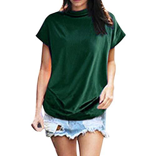 HEATLE Mode Übergröße Damen Sommer Tägliches T-Shirt Rollkragenpullover Mit Kurzen Ärmeln Solide Lässige Bluse Aus Baumwolle(Grün,XXXXXL)