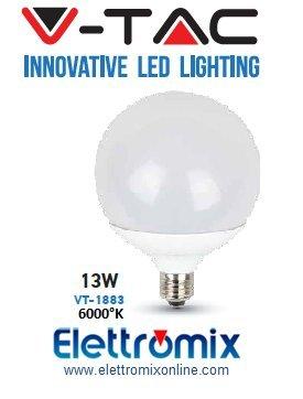 V-TAC 4274 13 W E27 - Globo Blanco de tipo LED 230V E27 13 W con luz fria 6000K VT1883