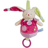 Babynat - Peluches et Doudous - Doudou musical Lapin Les Gourmandises étiquettes bonbons noeuds Coloris :