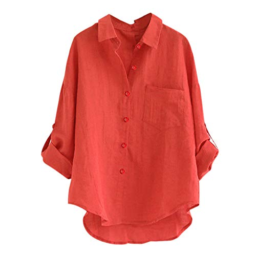 Tweety Fleece (TOPKEAL Top Damen Sommer Herbst Solides Mit Revers Langarmhemd Bluse Beiläufige lose Bluse Button-Down Shirt 2019 Mode Oberteile (rot, XL))