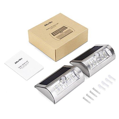 Albrillo Solarleuchten mit Bewegungsmelder, 2er-Pack, 18 LEDs in Kaltweiß - 8