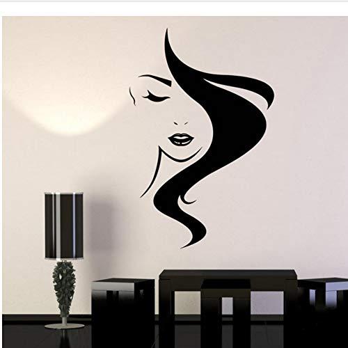 Waofe adesivi murali in vinile per capelli di bellezza salon girl parrucchiere wall sticker etichetta rimovibile pared vinylwall decal 57 * 86cm