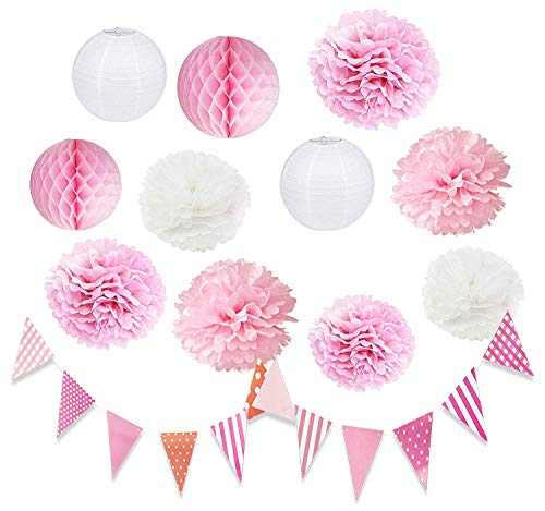 HappyField Babyparty-Dekorationen Rosa Weiß Hochzeitsdekoration Rosa Babyparty-Dekor Mädchen Seidenpapier Pom Pom Rosa Weiß Geburtstagsfeier-Dekorationen
