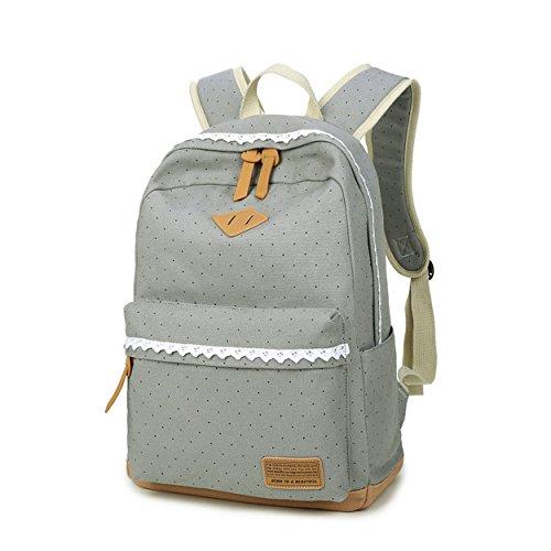 Geek-M Schulrucksack Mädchen Canvas Rucksack Tupfen mit Lace Backpack für Schule für Jugendliche (Schwarz) Grau