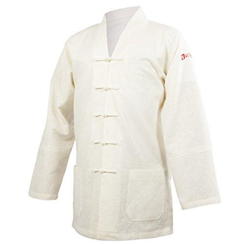 wu designs Leinen (schwer) Tai Chi Oberteil V-Kragen - Taiji Shirt - Tai Chi Anzug - Kung Fu - Wushu - Weiß - 180