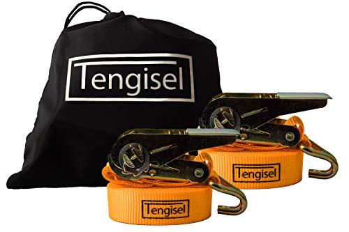 Tengisel | 2 Spanngurte mit Ratsche + gratis Tasche | 4m 25mm 250/500kg | zweiteilig mit Haken | hohe Qualität nach DIN EN 12195-2 | TÜV-geprüfte Sicherheit