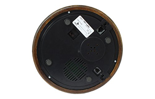 Opis 1921 cable - Modell C - Retro Telefon aus Holz, schwarzem und mit Messing überzogenem Plastik - mit echter, rotierender Wählscheibe und Metallklingel - 6