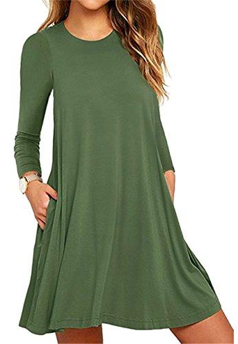 OMZIN Frauen Plus Größe S-4XL Langarm-lose Schaukel Casual T-Shirt Taschen Kleid 2-Grün
