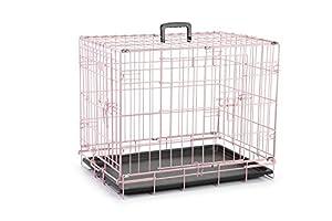 Beeztees Cage en Grille 2 Porte pour Chien Rose 62 x 44 x 49 cm