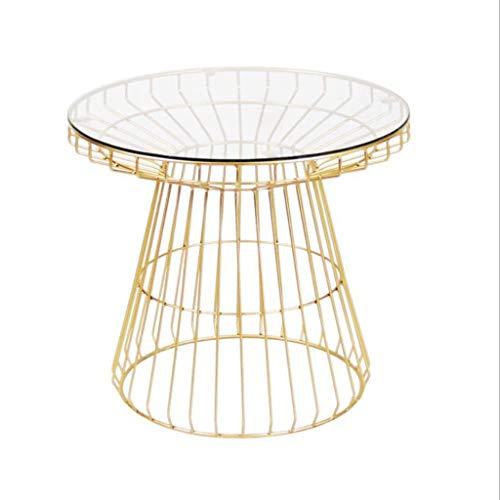 M-JH Table d'appoint, Côté de Sofa de Salon de Table Basse de Balcon de Verre trempé Rond Multi-Fonction, 55 * 55 * 50 cm (Couleur : Or)