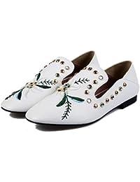 YOPAIYA Alpargatas Zapatos De Pescador Blanco Bordado Casual Zapatos De Cuero Pequeños Remaches Mujer Dos Mocasines