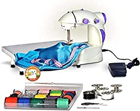Adonai Mini Desktop Multi Functional Electric Sewing Machine Household Double Stitches Sewing Machine with Tray (White)