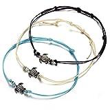 aiuin 3x Cheville Bracelet Ficelle de Cire Vintage Tortue Cheville Bracelets pour les femmes Bijoux Accessoires
