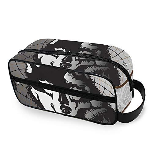 Doshine Animal Wolf atrapasueños Boho Plumas, Bolsa de Maquillaje portátil Bolsa de Aseo Bolsa Bolsa de Aseo Bolsa Bolsa Bolsa Bolsa para Las Mujeres niñas hogar al Aire Libre