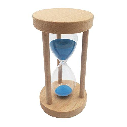 nuten Sandglass Sanduhr mit Holzrahmen Sand Dekoration Timer für Kochen, Maske, Yoga, Spielen, Zähneputzen - Blau, 30 Minuten ()