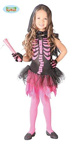 rosa pink Skelett Kleid mit Kapuze für Mädchen Gr. 110-146, (Kostüme Mädchen Halloween Freche)