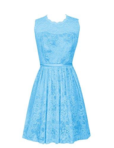 Dresstells, robe courte de demoiselle d'honneur en dentelle sans manches, robe de cocktail Bleu