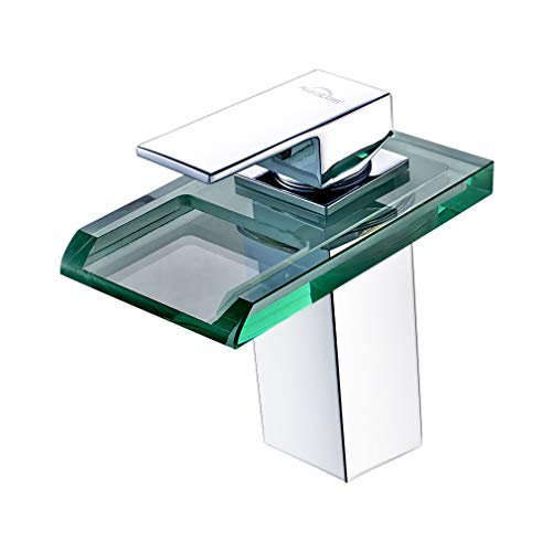 AuraLum Led Waschtischarmatur Wasserfall Glas Wasserhahn mit RGB Farbewechsel Bad Badezimmer, Waschbecken Wc, Kupfer