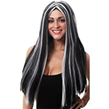 Halloween 65cm Long Black & White Morticia wig