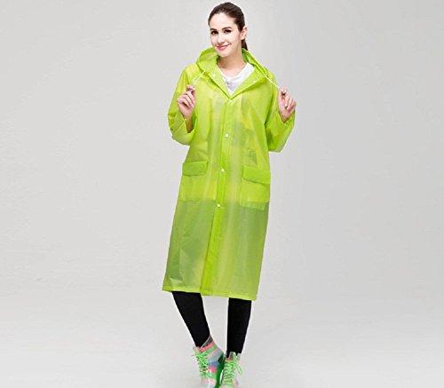 keleidun Größe eva transluzent Regenmantel mit Kapuze wasserdicht Unisex Outdoor reinwear über Knie Länge Poncho Coat grün - grün